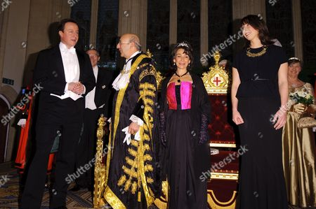 David and Samantha Cameron with the Lord Mayor of the City of London Michael Bear and wife Barbara