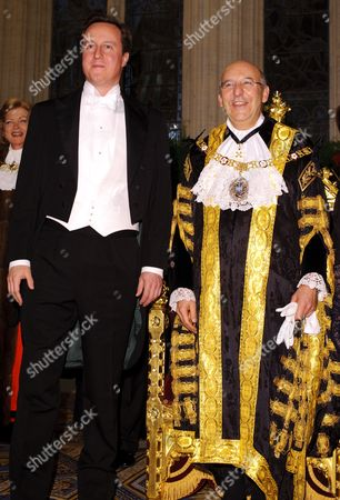 David Cameron with the Lord Mayor of the City of London, Michael Bear