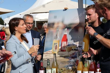 Stock Photo of Princess Marie visited the Madens Folkemode and the Collaborating Merchants Samvirkende Kobmaends honorary award for a special effort in the fight against food waste in Engestofte Gods, Maribo