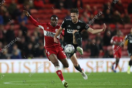 Sheffield United's Ben Davies in action with Middlesbrough's Toyosi Olusanya during the Sky Bet Championship match between Middlesbrough and Sheffield United at the Riverside Stadium, Middlesbrough on Tuesday 28th September 2021.