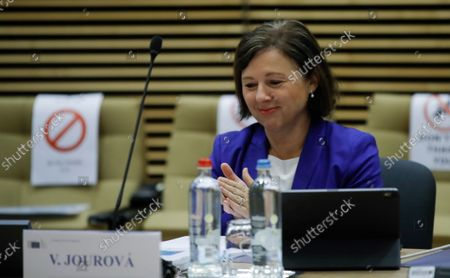 Stock Image of European Commissioner for Values and Transparency Vera Jourova during weekly college Meeting of the European Commission in Brussels, Belgium, 29 September 2021.