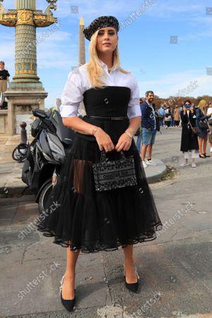 Valentina Ferragni arrives for the Christian Dior fashion show