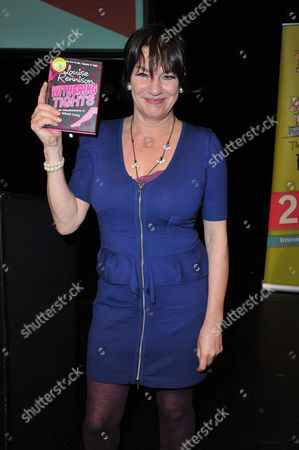 Louise Rennison with her book 'Withering Tights'