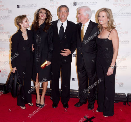 Nina Warren, Elisabetta Canalis, George Clooney and Nick Clooney and Kerry Kennedy