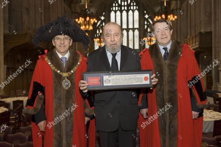 Alderman Michael Bear the Lord Mayor of the City of London, Sir Peter Hall and Alderman Roger Gifford