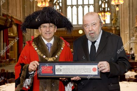 Alderman Michael Bear the Lord Mayor of the City of London and Sir Peter Hall