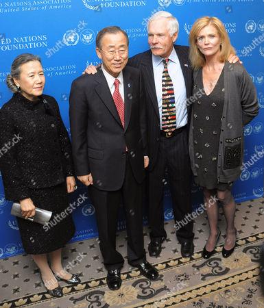 Yoo Soon-taek, UN Secretary-General Ban Ki-moon, Ted Turner and Catherine Crier