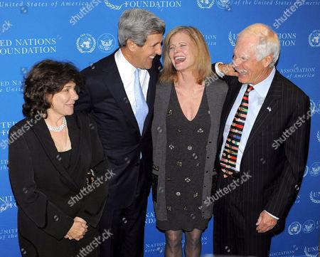 Teresa Heinz Kerry, Senator John Kerry, Catherine Crier and Ted Turner