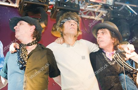 New York Dolls in concert in Edinburgh, Scotland - Sylvain Sylvain, David Johansen and Steve Conte