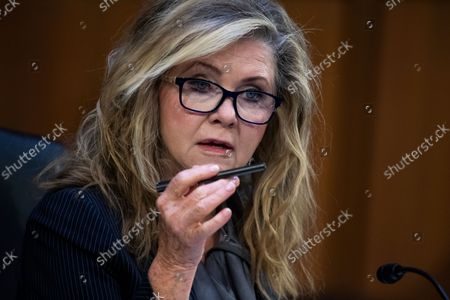"""United States Senator Marsha Blackburn (Republican of Tennessee), speaks during the Senate Judiciary Committee hearing titled """"Texas's Unconstitutional Abortion Ban and the Role of the Shadow Docket,"""" in Hart Senate Office Building in Washington, D.C., on Wednesday, September 29, 2021."""