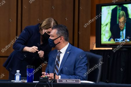 """UNITED STATES - SEPTEMBER 29: United States Senator Alex Padilla (Democrat of California) , and US Senator Amy Klobuchar (Democrat of Minnesota), attend the Senate Judiciary Committee hearing titled """"Texas's Unconstitutional Abortion Ban and the Role of the Shadow Docket,"""" in Hart Senate Office Building in Washington, D.C., on Wednesday, September 29, 2021."""