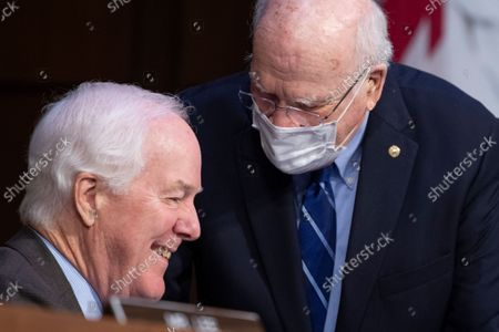 """UNITED STATES - SEPTEMBER 29: United States Senator Patrick Leahy (Democrat of Vermont), right, and US Senator John Cornyn (Republican of Texas), attend the Senate Judiciary Committee hearing titled """"Texas's Unconstitutional Abortion Ban and the Role of the Shadow Docket,"""" in Hart Senate Office Building in Washington, D.C., on Wednesday, September 29, 2021."""