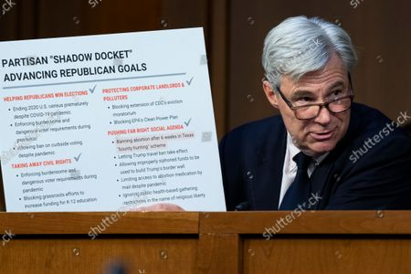 """UNITED STATES - SEPTEMBER 29: United States Senator Sheldon Whitehouse (Democrat of Rhode Island), attends the Senate Judiciary Committee hearing titled """"Texas's Unconstitutional Abortion Ban and the Role of the Shadow Docket,"""" in Hart Senate Office Building in Washington, D.C., on Wednesday, September 29, 2021."""