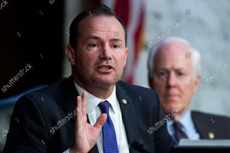"""UNITED STATES - SEPTEMBER 29: United States Senator Mike Lee (Republican of Utah), left, and US Senator John Cornyn (Republican of Texas), attend the Senate Judiciary Committee hearing titled """"Texas's Unconstitutional Abortion Ban and the Role of the Shadow Docket,"""" in Hart Senate Office Building in Washington, D.C., on Wednesday, September 29, 2021."""