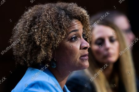 """UNITED STATES - SEPTEMBER 29: Fatima Goss Graves, president and CEO of the National Women's Law Center, testifies during the Senate Judiciary Committee hearing titled """"Texas's Unconstitutional Abortion Ban and the Role of the Shadow Docket,"""" in Hart Senate Office Building in Washington, D.C., on Wednesday, September 29, 2021."""