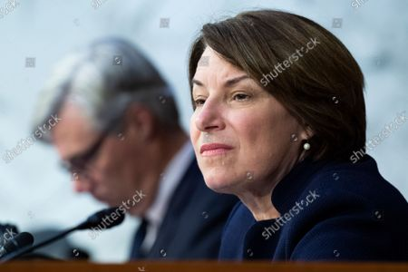 """Stock Picture of UNITED STATES - SEPTEMBER 29: United States Senator Amy Klobuchar (Democrat of Minnesota), and US Senator Sheldon Whitehouse (Democrat of Rhode Island), attend the Senate Judiciary Committee hearing titled """"Texas's Unconstitutional Abortion Ban and the Role of the Shadow Docket,"""" in Hart Senate Office Building in Washington, D.C., on Wednesday, September 29, 2021."""