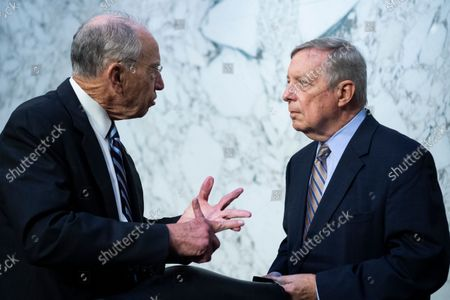 """UNITED STATES - SEPTEMBER 29: United States Senator Dick Durbin (Democrat of Illinois), Chairman, US Senate Committee on the Judiciary., right, and US Senator Chuck Grassley (Republican of Iowa), attend the Senate Judiciary Committee hearing titled """"Texas's Unconstitutional Abortion Ban and the Role of the Shadow Docket,"""" in Hart Senate Office Building in Washington, D.C., on Wednesday, September 29, 2021."""