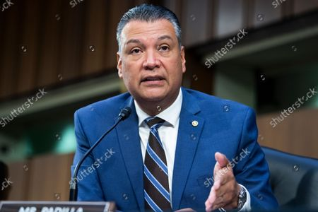 """UNITED STATES - SEPTEMBER 29: United States Senator Alex Padilla (Democrat of California) , speaks during the Senate Judiciary Committee hearing titled """"Texas's Unconstitutional Abortion Ban and the Role of the Shadow Docket,"""" in Hart Senate Office Building in Washington, D.C., on Wednesday, September 29, 2021."""