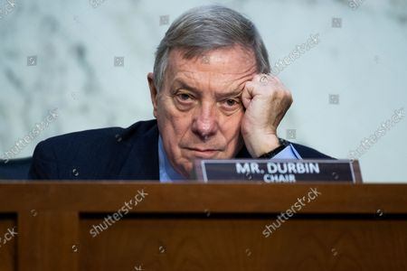 """United States Senator Dick Durbin (Democrat of Illinois), Chairman, US Senate Committee on the Judiciary, attends the Senate Judiciary Committee hearing titled """"Texas's Unconstitutional Abortion Ban and the Role of the Shadow Docket,"""" in Hart Senate Office Building in Washington, D.C., on Wednesday, September 29, 2021."""