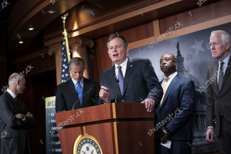 Senator Steve Daines (R-MT) delivers remarks during a news conference with Senate Republicans on the agenda of Senate Democrats at the U.S Capitol in Washington, DC on Wednesday September 29, 2021. Republican Senators emphasized issues related to border security and the debit limit.