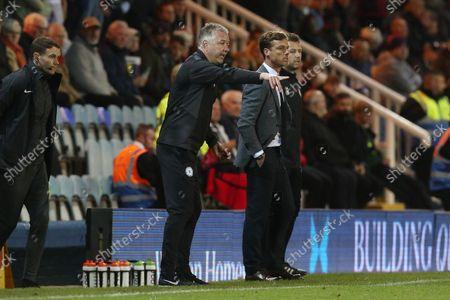 Peterborough United Manager Darren Ferguson on the touchline alongside Bournemouth Manager Scott Parker