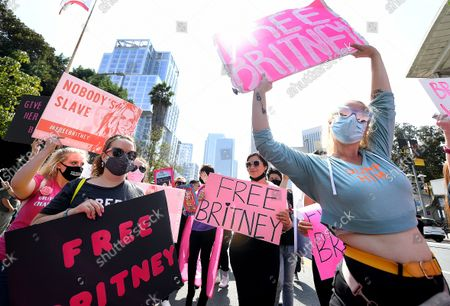 Stock Photo of Britney Spears fans rally outside the courthouse before the announcement that Britney Spears' father, Jamie spears, is suspended from her conservatorship in Los Angeles Wednesday. (Wally Skalij/Los Angeles Times)