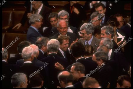 Czech Pres. Vaclav Havel  congratulated during his speech to Joint Session of Cong., incl. w.  Sens. Lugar, Boschwitz & Rep. Michel.