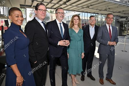Jacqueline Stewart, David Rubin, President, Academy of Motion Picture Arts and Sciences, Bill Kramer, Director and President, Academy Museum, Dawn Hudson, CEO, Academy of Motion Picture Arts and Sciences, Ted Sarandos, Co-CEO and Chief Content Officer, Netflix and Eric Garcetti, City of Los Angeles Mayor