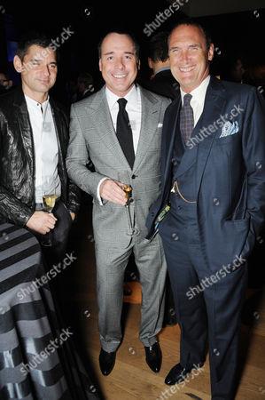 Ariel Thompson, David Furnish and AA Gill