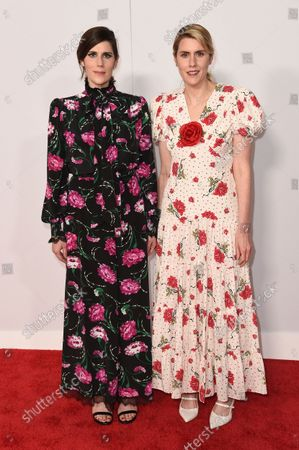 Laura Mulleavy and Kate Mulleavy arrive at the Academy Museum of Motion Pictures Premiere Party, at the Academy of Motion Pictures Museum in Los Angeles