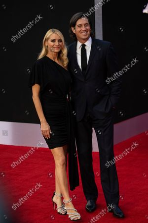 Tess Daly and Vernon Kay pose for photographers ahead of the Balmain Spring-Summer 2022 ready-to-wear fashion show presented in Paris