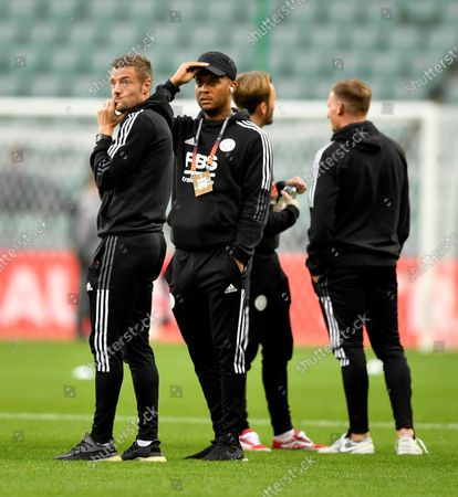 Stock Photo of Jamie Vardy  and Ryan Bertrand of Leicester City inspect the pitch prior the kick off