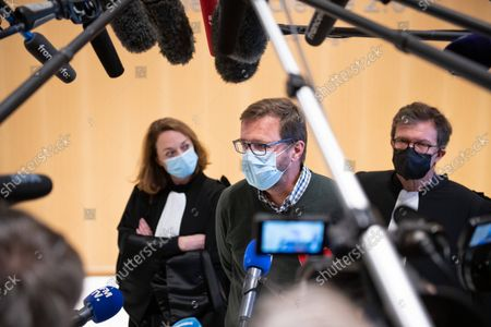 Stock Image of The judgement in the Bygmalion case is delivered on Thursday, 30 September, at 10 a.m.  Jérôme Lavrilleux, Deputy Campaign Director and Chief of Staff of Jean-Francois Cope, comes out of the audience and makes a statement to the press.