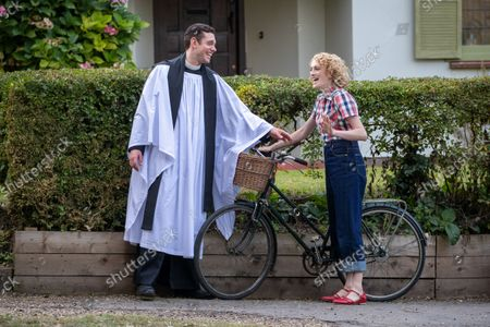 actress Charlotte Ritchie filming the ITV drama Grantchester looking unrecognisable to her normal roles. She is pictured with actor Tom Brittney. Ghosts actress Charlotte Ritchie looked unrecognisable as she sported blonde curly hair for her role in ITV's crime drama Grantchester.The 31-year-old brunette looked a world apart from her character Alison in the popular BBC One sitcom.In fact, Charlotte looked more like her character, Barbara Gilbert in BBC's period drama Call the Midwife, as she cycled around the streets of Grantchester in Cambridgeshire in 1950s attire.She was seen wearing a red and white checked shirt, stylish blue jeans and red shoes