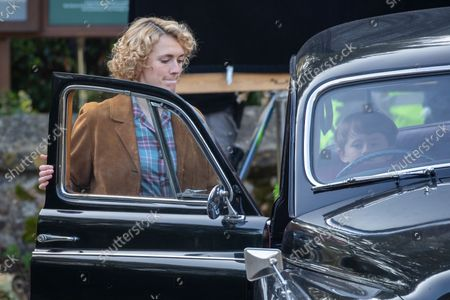 Stock Image of actress Charlotte Ritchie filming the ITV drama Grantchester looking unrecognisable to her normal roles. Ghosts actress Charlotte Ritchie looked unrecognisable as she sported blonde curly hair for her role in ITV's crime drama Grantchester.The 31-year-old brunette looked a world apart from her character Alison in the popular BBC One sitcom.In fact, Charlotte looked more like her character, Barbara Gilbert in BBC's period drama Call the Midwife, as she cycled around the streets of Grantchester in Cambridgeshire in 1950s attire.She was seen wearing a red and white checked shirt, stylish blue jeans and red shoes