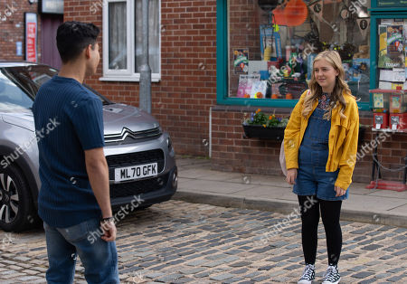 Coronation Street - Ep 10447 Monday 4th October 2021 - 2nd Ep Summer Spellman, as played by Harriet Bibby, takes her worries about her Oxford application out on Aadi Alahan, as played by Adam Hussain.