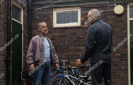 Coronation Street - Ep 10450 Friday 8th October 2021 - 1st Ep Unable to shake his doubts, Kevin Webster, as played by Michael Le Vell, gets in his car and tracks down Tez, as played by Stephen Lord, and spots him doing a drug deal. As Tez samples the goods from his drugs deal, Kevin edges nearer and snaps a photo on his phone. Kevin stands up to Tez, convinced he lied yesterday and has really seen Abi. Kevin orders Tez to tell him all he knows or he will send the incriminating photo to his probation officer.