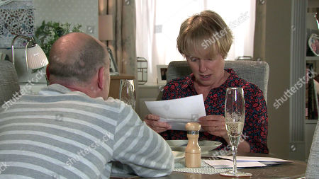 Coronation Street - Ep 10448 Wednesday 6th October 2021 - 1st Ep Sally Metcalfe, as played by Sally Dynevor, and Tim Metcalfe, as played by Joe Duttine, celebrate their first anniversary. But the occasion is swiftly forgotten when a thrilled Sally opens a letter saying the council is considering her parking proposals.