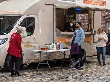 Coronation Street - Ep 10450 Friday 8th October 2021 - 1st Ep Debbie Webster, as played by Sue Devaney, is furious to find Zeedan Nazir, as played by Qasim Akhtar, and Alya Nazir, as played by Sair Khan, selling half price curries from their food van parked outside the bistro and threatens to report them.