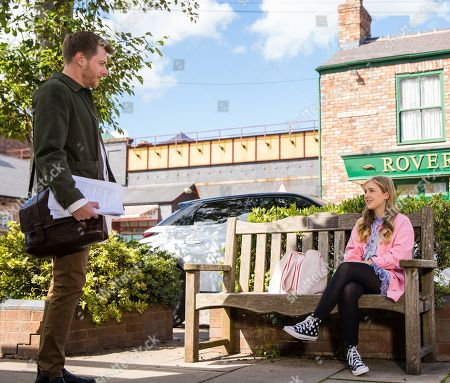 Stock Image of Coronation Street - Ep 10449 Wednesday 6th October 2021 - 2nd Ep Summer Spellman, as played by Harriet Bibby, admits to Daniel Osbourne, as played by Rob Mallard, that she copied her mentor's statement. Daniel insists her first one was great and Oxford would be lucky to have her.