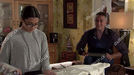 Stock Image of Coronation Street - Ep 10456 & Ep 10457 Friday 15th October 2021 - 2nd Ep Aadi Alahan is furious when Dev Alahan, as played by Jimmi Harkishin, tells him he has asked Asha Alahan, as played by Tanisha Gorey, to come with them as she is upset over Nina. As Dev struggles to fulfil both Asha's and Aadi's holiday requirements, Aadi's resigned to the fact that yet again, his sister's needs come first.