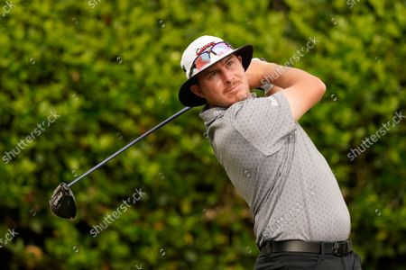 Joel Dahmen watches his drive from the first tee during the first round of the Sanderson Farms Championship golf tournament in Jackson, Miss