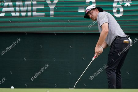 Stock Photo of Joel Dahmen follows his putt on the 18th green during the first round of the Sanderson Farms Championship golf tournament in Jackson, Miss