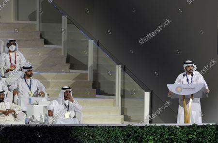 Stock Image of Sheikh Hamdan bin Mohammed bin Rashid Al Maktoum, Crown Prince of Dubai makes his speech during the opening ceremony of the Dubai Expo 2020 in Dubai, United Arab Emirates