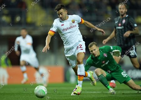 Roma's Stephan El Shaarawy scores his side's opening goal during the Europa Conference League Group C soccer match between Zorya Luhansk and Roma at the Slavutych-Arena stadium in Zaporizhia, Ukraine