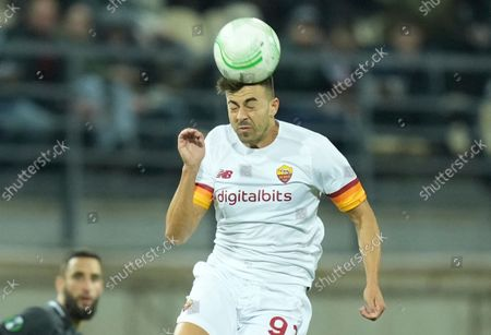 Roma's Stephan El Shaarawy heads the ball during the Europa Conference League Group C soccer match between Zorya Luhansk and Roma at the Slavutych-Arena stadium in Zaporizhia, Ukraine