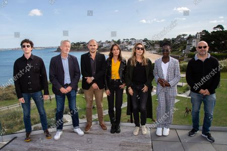 Photo session on the terrace of the Novotel Thalassa de Dinard of the jury of the 32nd British Film Festival composed of Berenice Bejo Des Forets Jean, Haidara eye, Hamidi Mohamed, Laura smet, Oldfield Finnegan, Paul Webster