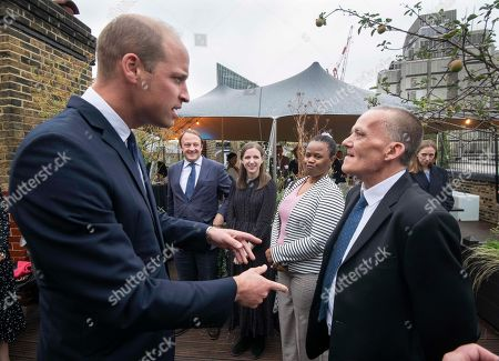 Prince William meets Award winners Colin Chilman, 56, (right) formerly homeless and not a trained kitchen porter and  Nomonde Mkhwanazi, 49, a former rough sleeper who is now training as a nurse (second right).