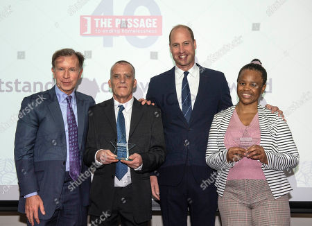 Prince William with Award winners Colin Chilman, 56, (second left) formerly homeless and not a trained kitchen porter and  Nomonde Mkhwanazi, 49, a former rough sleeper who is now training as a nurse (right). Also pictured The Passageâs Ambassador John Studzinski (left).