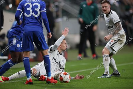 Artur Jedrzejczyk (C) of Legia reacts during the UEFA Europa League group C soccer match between Legia Warsaw and Leicester City in Warsaw, Poland, 30 September 2021.